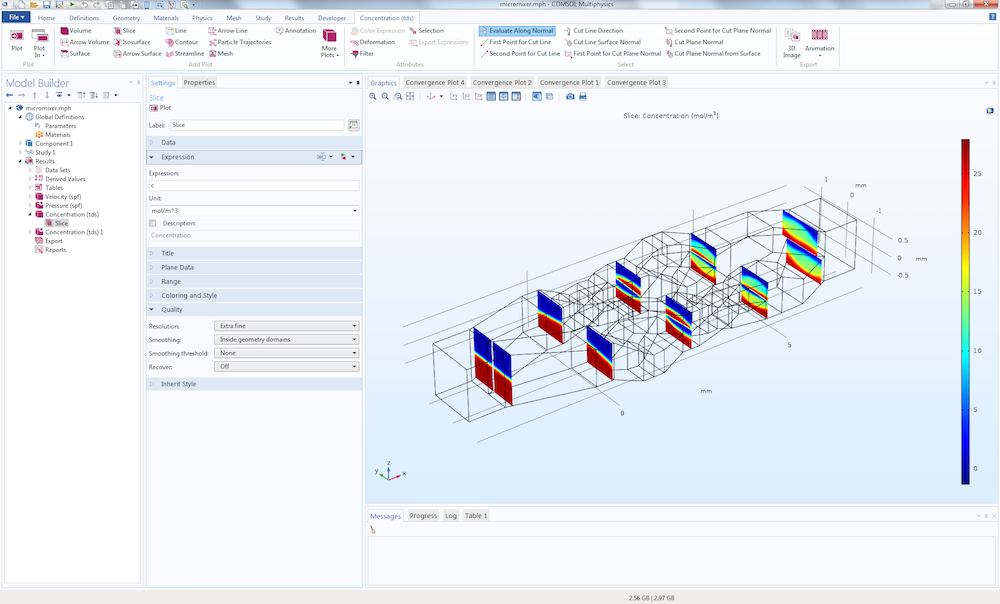 An image of the solved micromixer model in the COMSOL Multiphysics® GUI.