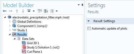 A screenshot showing how to turn off the automatic plot update settings in COMSOL Multiphysics®.