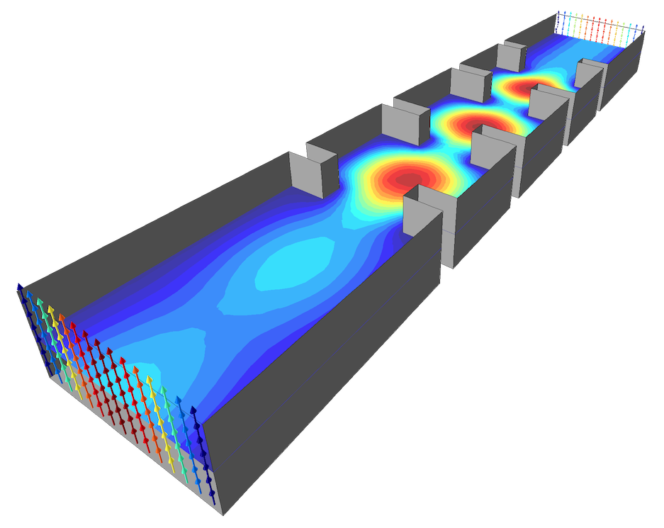 An EM simulation of a waveguide iris filter.