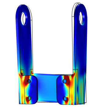 An image of simulation results for a static load analysis of a bracket.