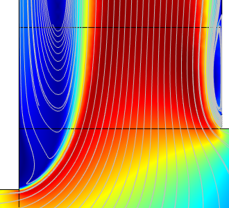An image of the velocity profile results for the extended outlet in the reactor.