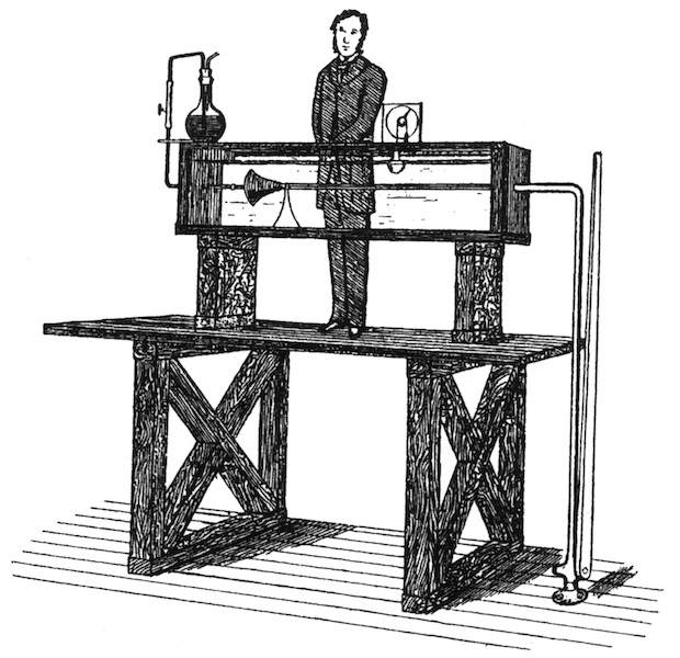 An illustration of Osborne Reynolds' fluid flow experiment setup.