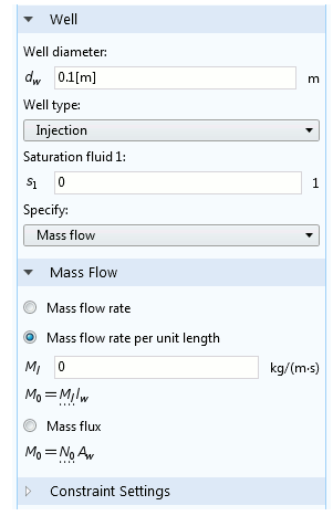 Screenshot of the Two-Phase Darcy's Law interface Settings window in COMSOL Multiphysics®.