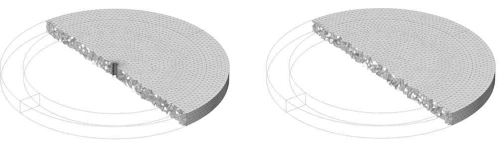Side-by-side images comparing the mesh of a well model.