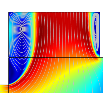 A plot of the velocity profile for the original cutoff outlet.