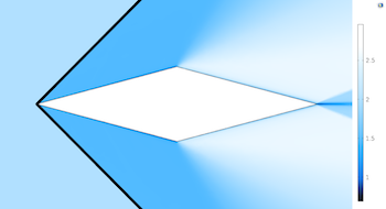 surface plot of Mach number for diamond airfoil model  featured