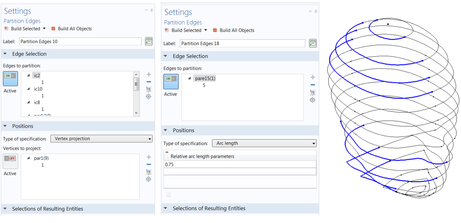 Screenshots of the partition Edges Settings window with Vertex projection specification and arc length specification as well as an image showing the edges selected for a vertex projection in the human head model.