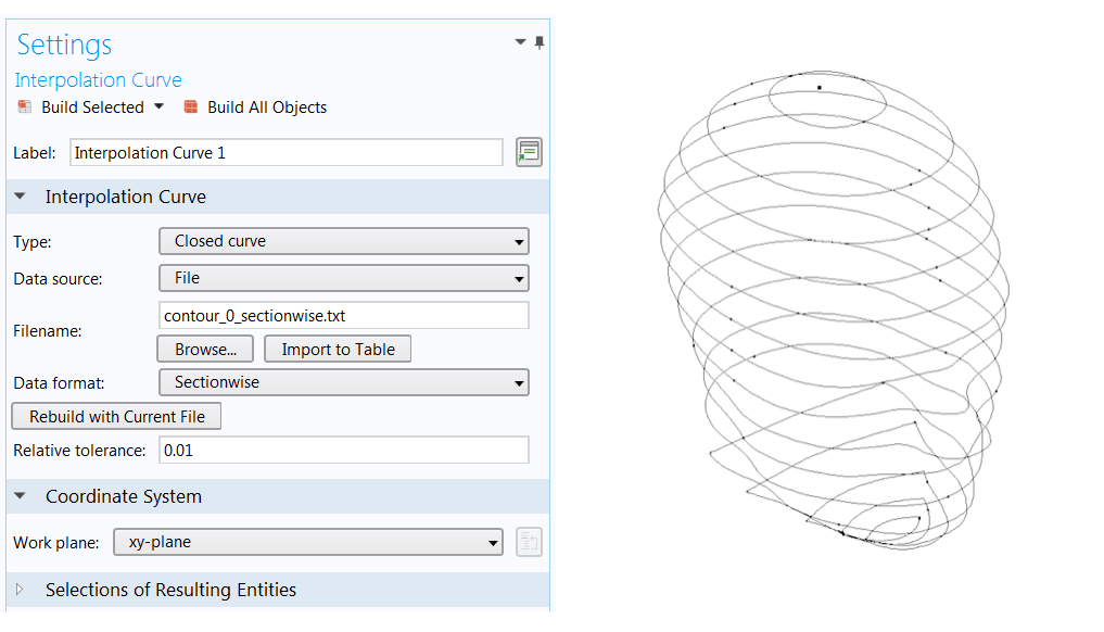 A screenshot of the settings for the Interpolation Curve feature in COMSOL Multiphysics® and an image showing the outer shell of a human head represented by curves.