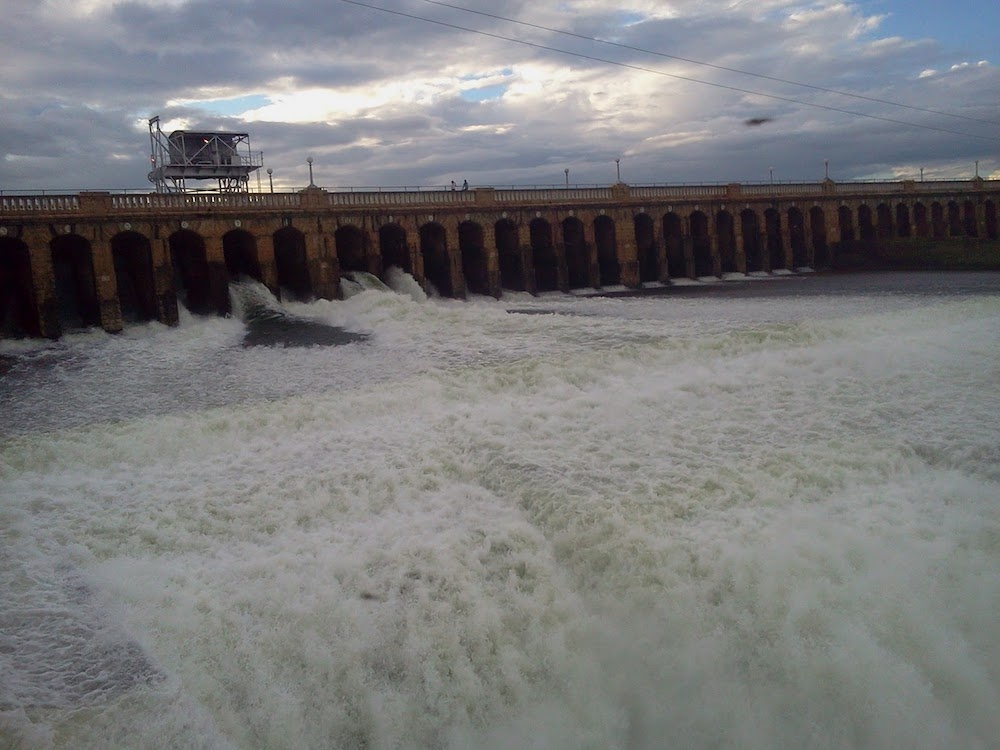A photograph of the Krishna Raja Sagar Dam in Mysore, India.