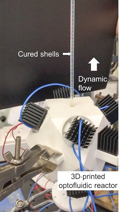 An image of an optofluidic reactor that can cure polymeric shells for IFE target fabrication.