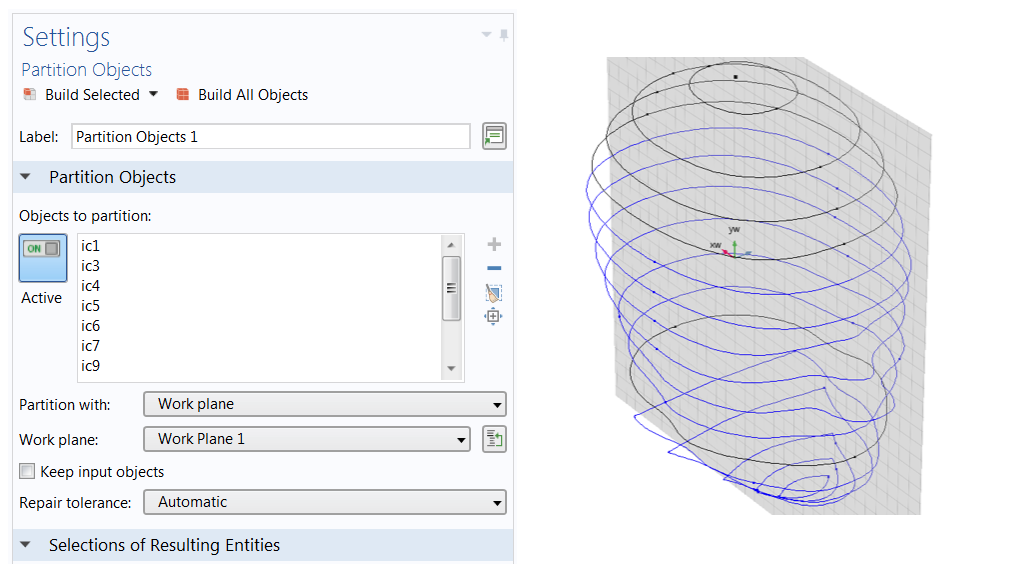 A screenshot of the settings used for the Partition Objects feature, which is useful for modeling irregular shapes, and a human head model with curve objects that are partitioned at two places via a work plane.