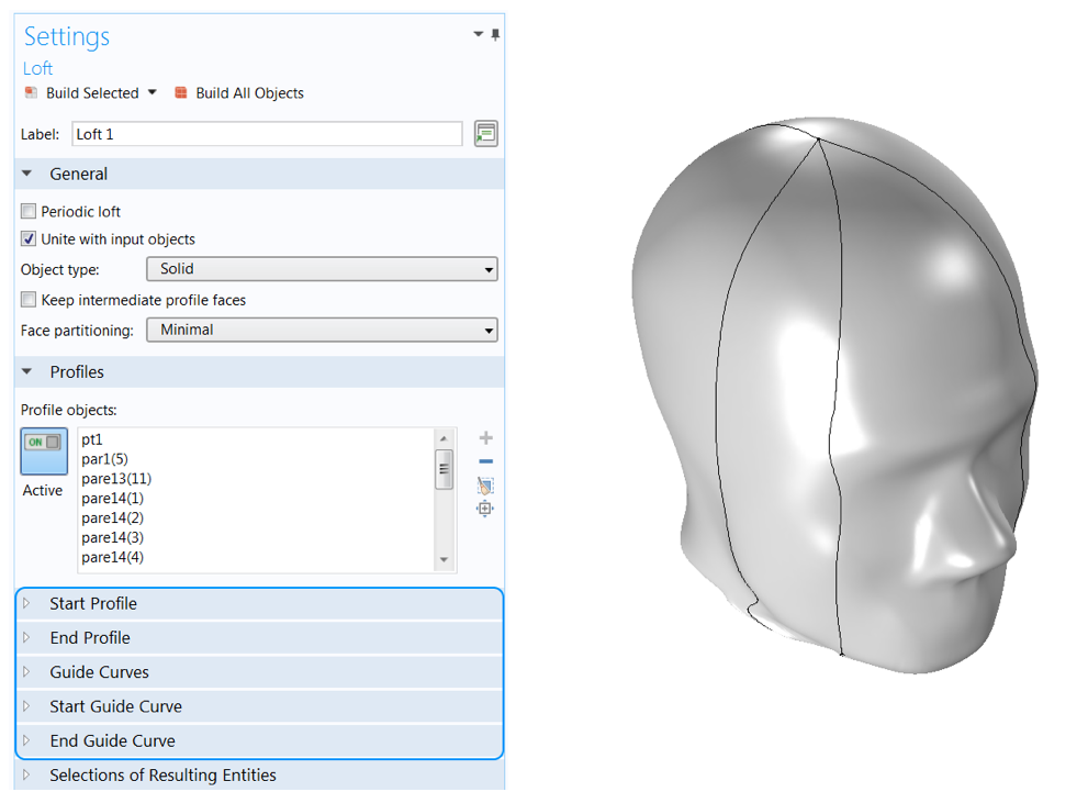 A screenshot of the settings window for the Loft operation and an image of the solid head model after lofting the solid.