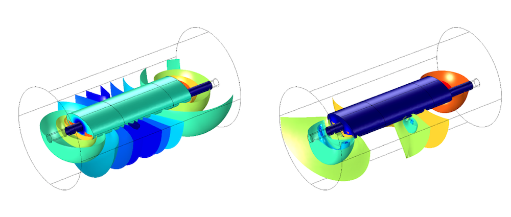 Side-by-side images showing surface and volume plots for the COMSOL Multiphysics® model.