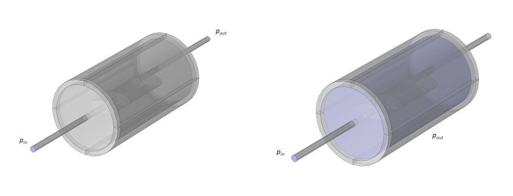 Side-by-side images of the muffler model and acoustic domain with the boundaries included in the TL calculation.