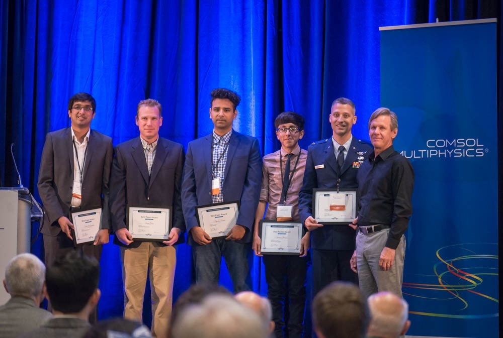 A photo of the award winners at the COMSOL Conference 2017 Boston.