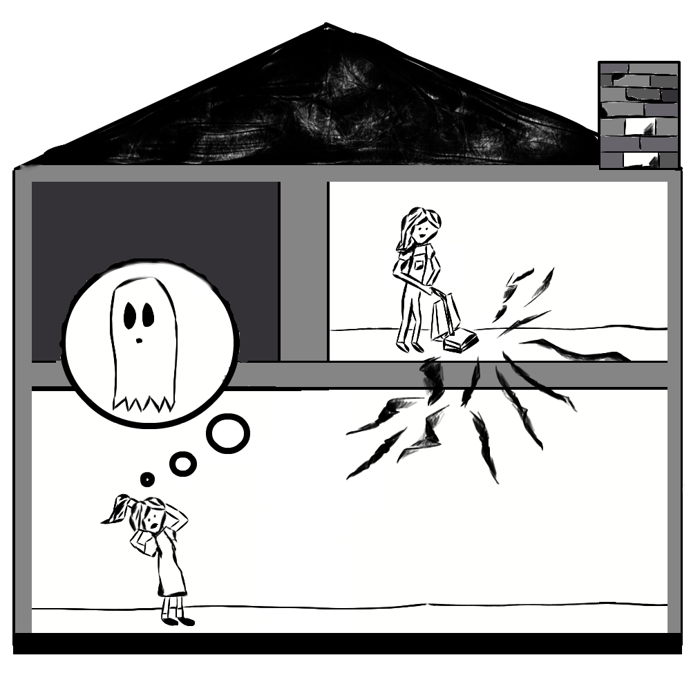 An illustration of mechanical resonance mistaken for a haunted house.