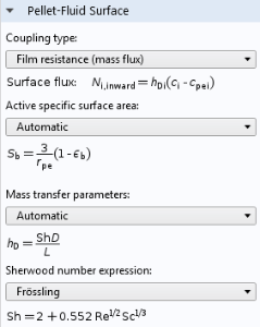 A screenshot of the COMSOL software GUI showing the Pellet-Fluid Surface settings for a model.