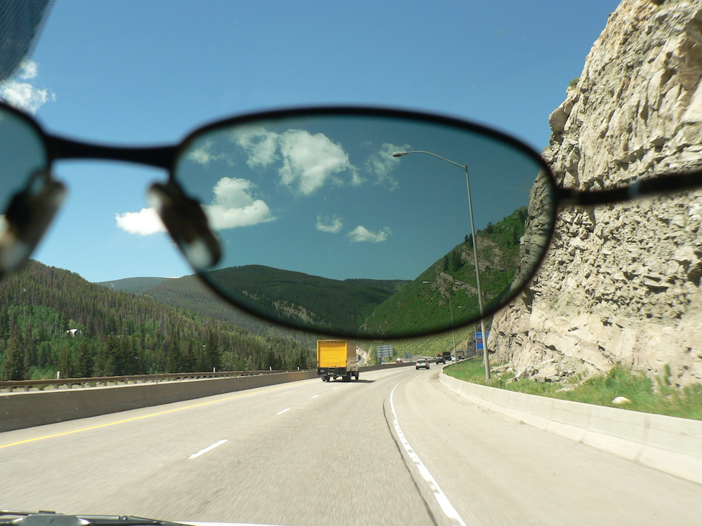 A photo of polarized sunglasses.