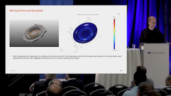 Reinforcing the audio transducer diaphragm based on simulation results featured