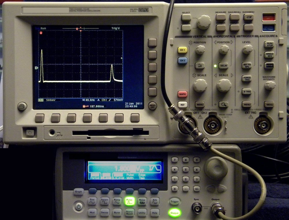 A photograph of a device used to study time-domain reflectometry.