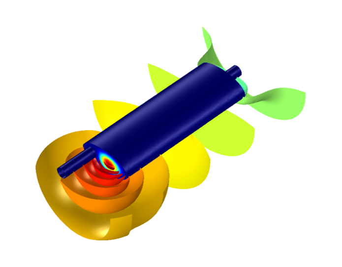 A COMSOL model of a muffler at SPL 188 Hz.