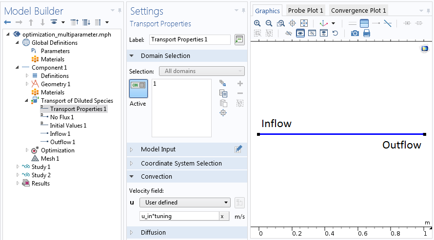 A screenshot showing how to set up the multiparameter optimization problem in COMSOL Multiphysics®.