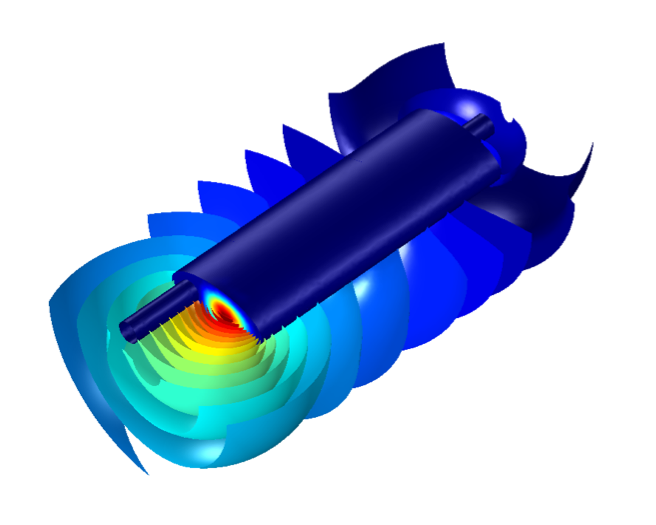A COMSOL model of a muffler at SPL 342 Hz.