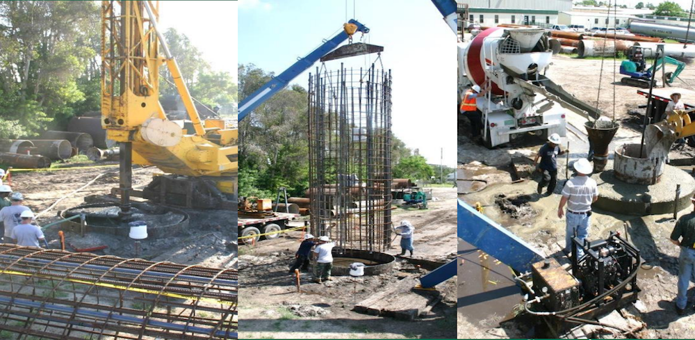 Side-by-side photographs showing the 3 stages of the concreting process for a drilled shaft.