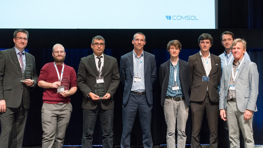 A photograph of award winners at the COMSOL Conference 2017 Rotterdam.