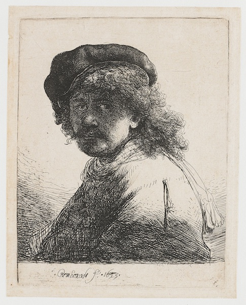 An image of one of Rembrandt's self-portraits, created using chemical etching.