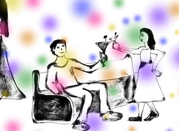 cocktail party conversation illustration featured