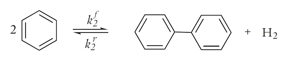 A chemical by-reaction: reversible production of biphenyl.