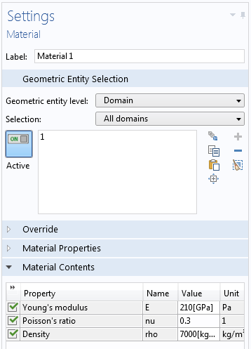 An example of entering material data in a unit system in COMSOL Multiphysics.