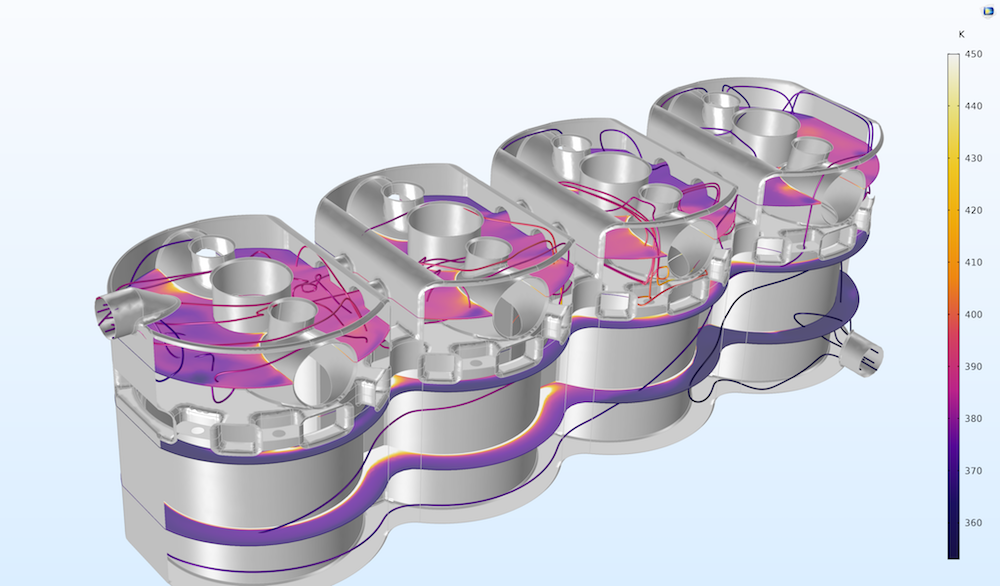 A COMSOL Multiphysics model of a four-cylinder engine.