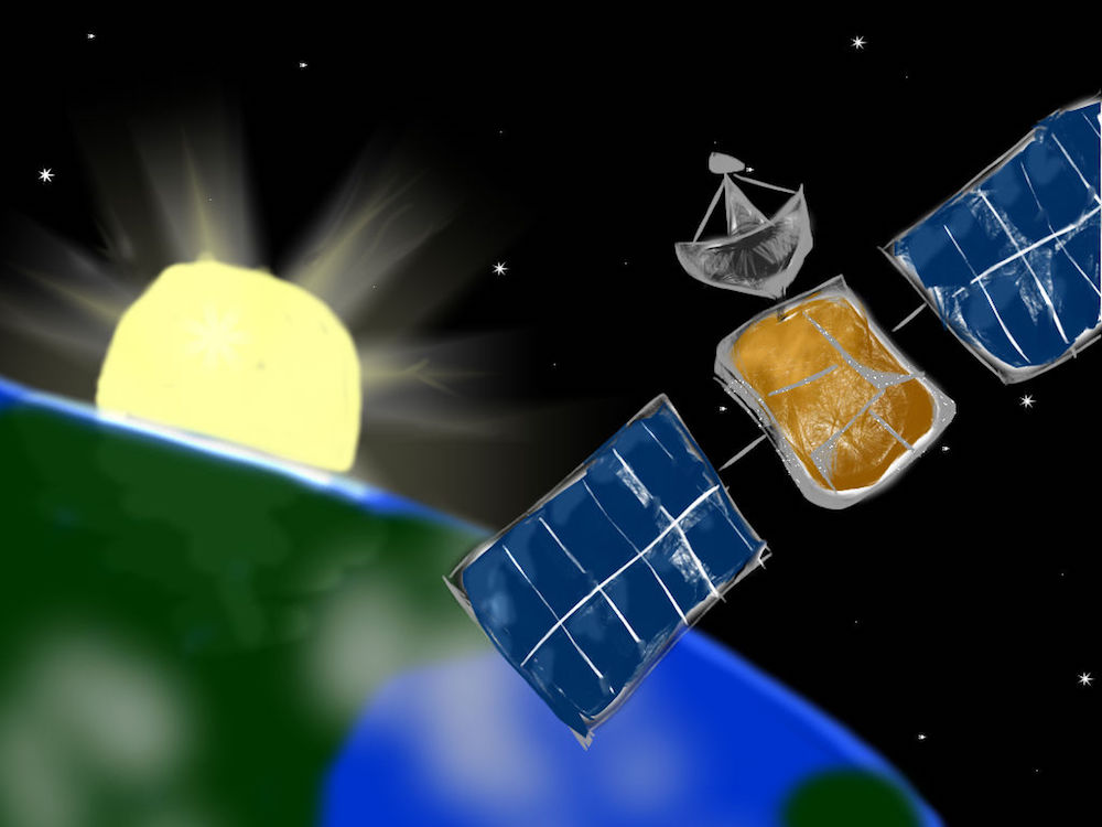 An illustration of a dead satellite that could be removed from space by an ejector.