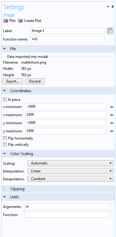 A screenshot of the Image function settings in COMSOL Multiphysics.