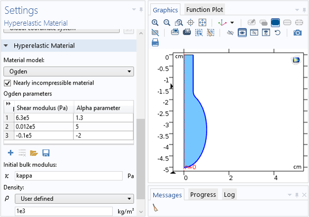 A screenshot showing the settings for the Ogden material model in COMSOL Multiphysics.