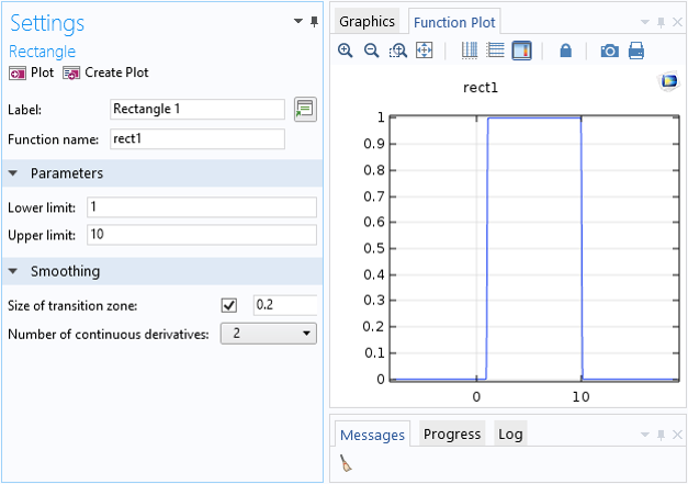A screenshot showing the Settings window for the Rectangle function in COMSOL Multiphysics.