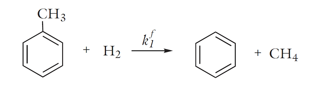 A chemical reaction: irreversible dealkylation of toulene.