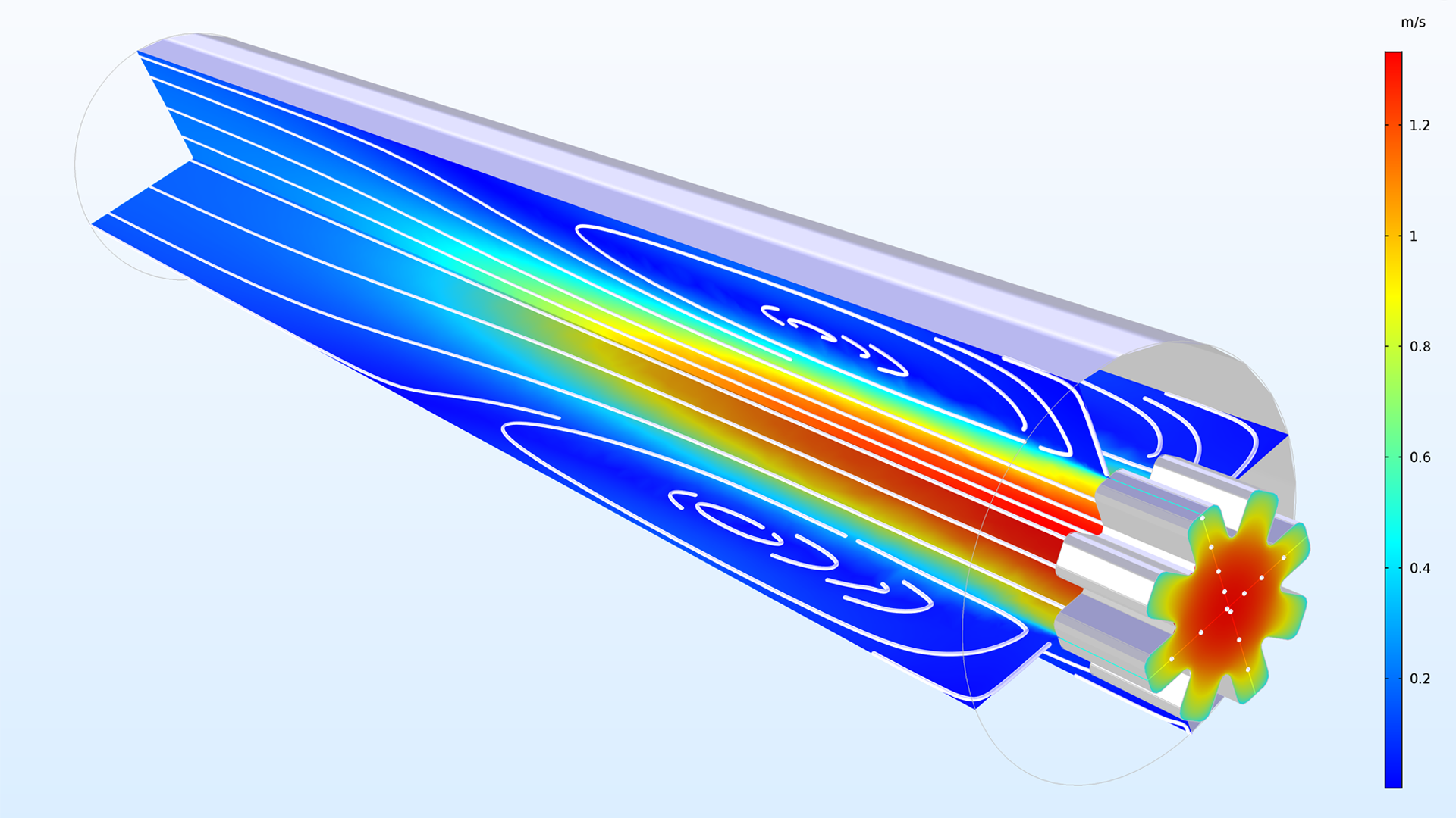 Specify upstream conditions on Inlet (CFD) and Inflow (Heat Transfer) boundaries to model more accurate turbulence properties.