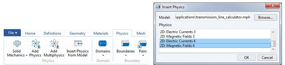 Screenshots of the copy-paste functionality in COMSOL Multiphysics version 5.3a.