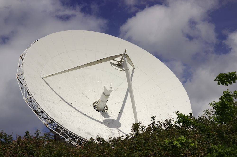 A photo of a dish antenna, which could be used for the Internet of Space.