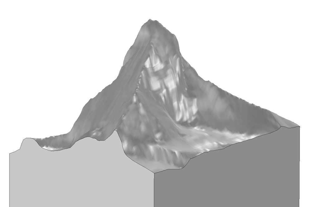 The final geometry of the Matterhorn based on interpolated data.