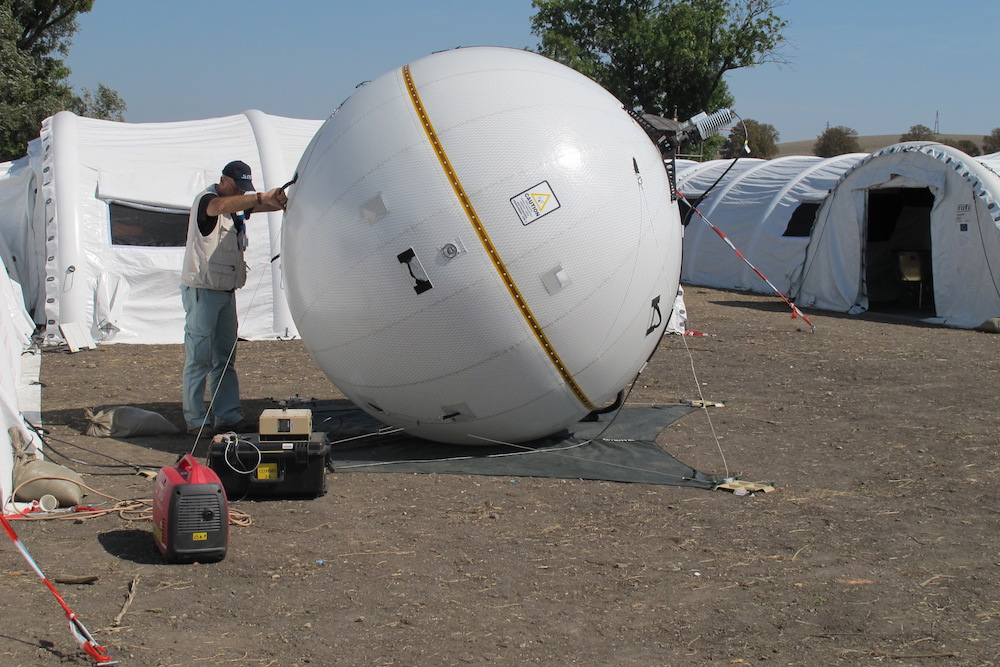 A photo of an inflatable SatCom antenna.