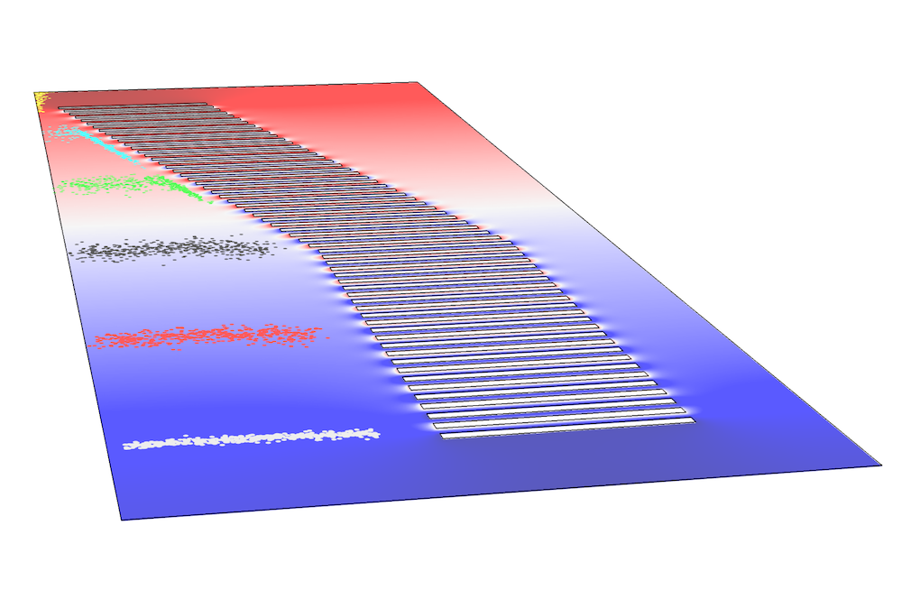 An image of an ion funnel simulated using COMSOL Multiphysics®.