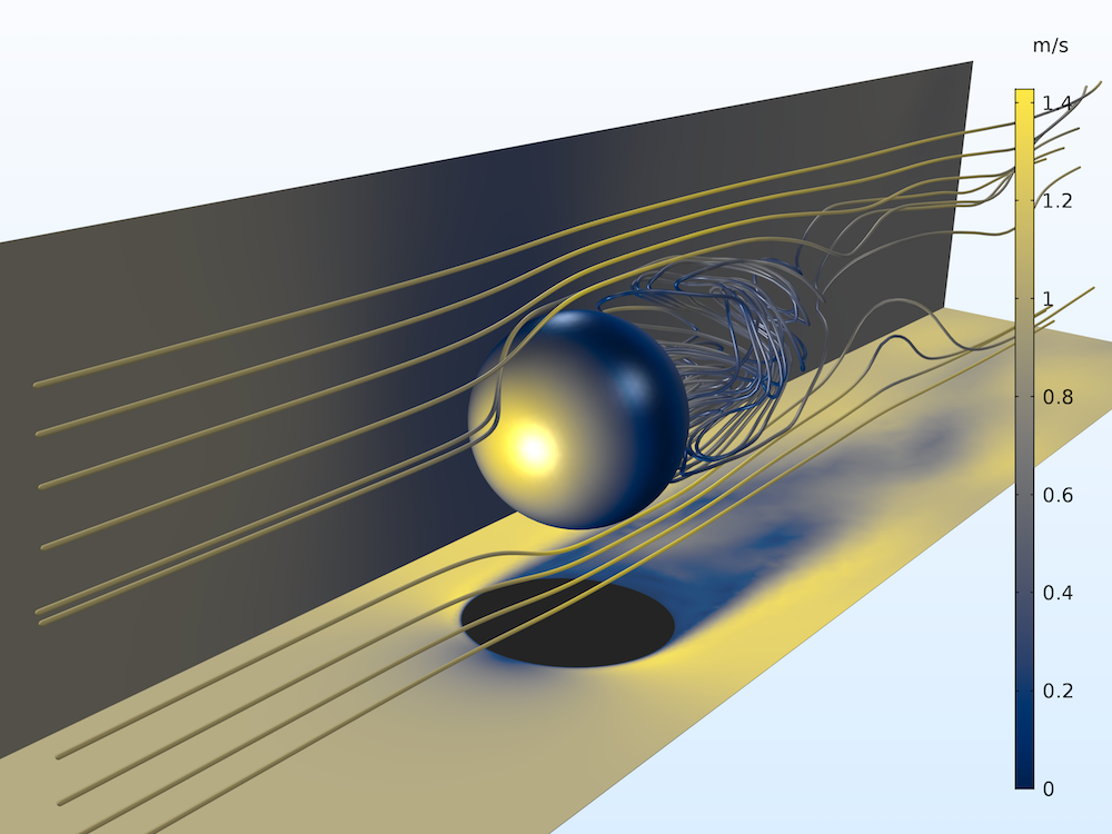 An image of a Karman-vortex street model in COMSOL Multiphysics, visualized with the Cividis color table.