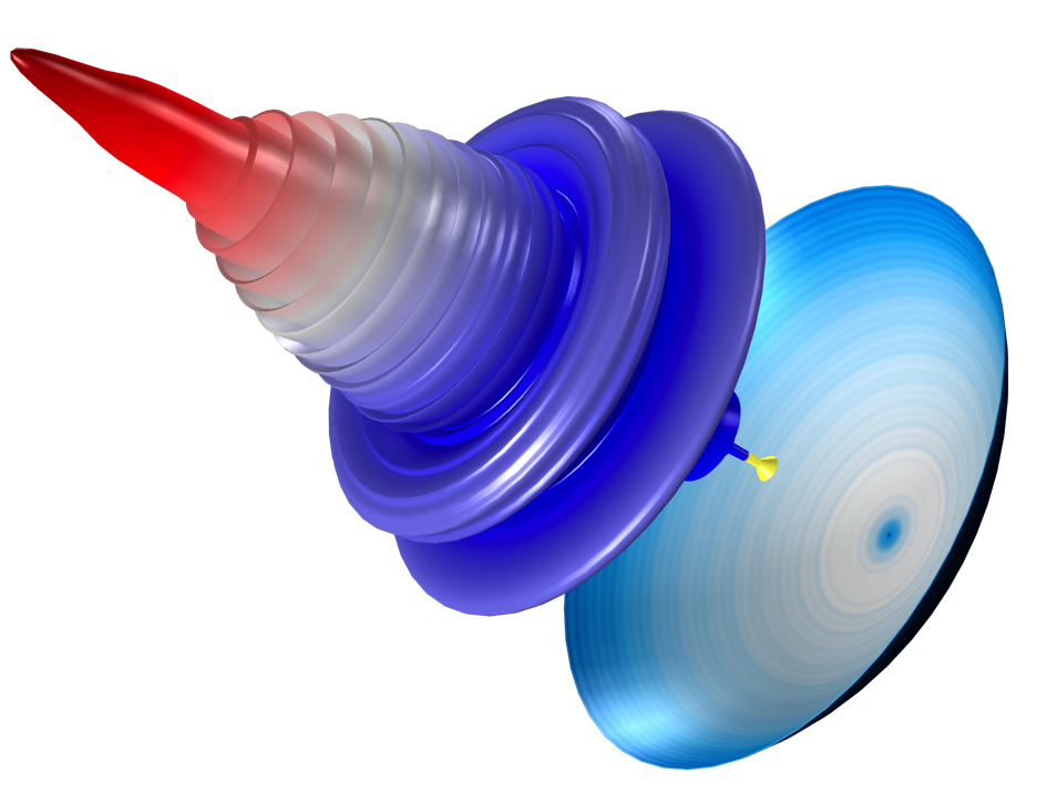 A COMSOL Multiphysics model of a parabolic dish antenna with the dB scale to show the sidelobes.