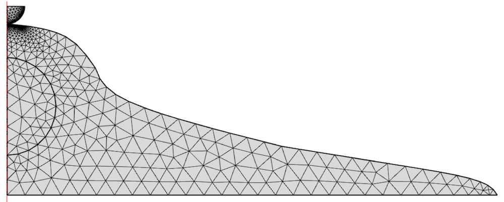 The mesh of a 2D axisymmetric cell model.