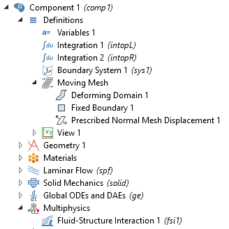 A screenshot of the COMSOL software GUI with the Moving Mesh features expanded.