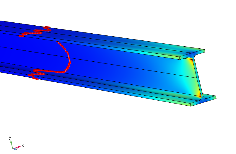 A model for analyzing the equivalent stress in a beam.